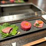 Yakinikuushigoro - 牛刺し3種盛り