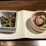 かふぅ - あぐーしゃぶしゃぶと沖縄満喫コース 前菜二種盛り(ゴーヤとツナの梅和え、アグーロースカツ)