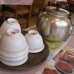 14192598 - 茶碗とやかん:お店の人が注文を聞きにきたときに持ってきてくれます。