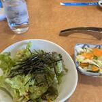 あおぞら - 上州定食のお漬物&サラダ!ドレッシングがオリジナルで うまいぜー!