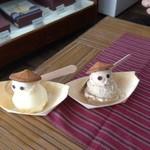 平治煎餅 本店 - バニラと黒糖のアイス