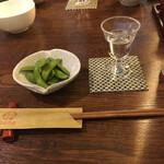 串焼 鉄板 ぼの - お通しは枝豆