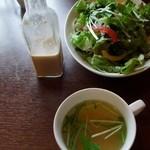 14197560 - 2012.5 旬の山菜カレーについてきたサラダとスープ