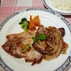 MIYOSHI - 料理写真:豚の生姜焼と牛ステーキの盛り合わせ(単品) 1500円