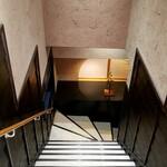 神田 味喜庵 - 地下へ下りる階段