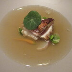 142020589 - 淡路の三年トラフグ 白子 松茸 松茸とすだちを絞ったフュメ・ド・ポワソン