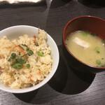炙り炉端 山尾 - 【飯物】博多っ子のかしわ飯&【汁物】漁師汁