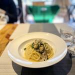 アブラッチョ - 牡蠣と春菊のペペロンチーノスパゲッティパン粉かけ