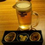 和民 - 「生ビール」と「お通し」