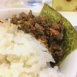 博多天神 - 辛子高菜メシ。高菜美味し! これを食べに来てる様なもんです。