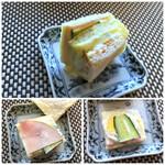 ラビアンローズ - *具材は「胡瓜」「ハム」「ゆで卵」と至ってシンプル。 でも口に入れるとパンにも甘めのマヨネーズが浸みていて、主人好み。