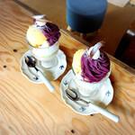 マチヤノオミセ - 季節のパフェ紫芋モンブラン
