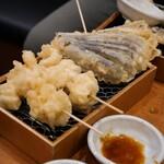日本酒バル 富士屋 - たらの白子天ぷら、茄子