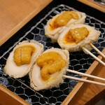 日本酒バル 富士屋 - 味タマの天ぷら ウニのせ