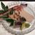 あしや - 蟹刺し トロ鰆の炙り 赤バイ貝