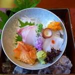 熱海荘 - 向付:鯛 障泥烏賊 蛸 赤貝 紅蓼 花穂 山葵