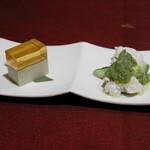 JOE'S SHANGHAI New York - 蒸し鶏 青ネギ生姜ソース、ピータン豆腐