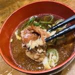 肉タレ屋 - スジ肉と玉子の味噌汁が美味い