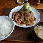 豚さん食堂 - 本気の豚生姜焼き定食(税込1,078円)