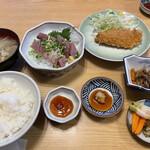 藤与し - カツオ刺定食アジフライ付き 800円