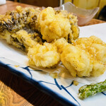 鳥平 - 白子と舞茸の天ぷら(580円)