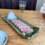 蕎麦 ふくあかり - お蕎麦屋さんの定番「京鴨ロース」福井産の地からしが添えてあります。