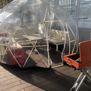 ドームテントで楽しむBBQ!暖房を設置しました♪