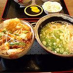 麺や ほり野 - とり天親子丼セット(うどん付) 830円。