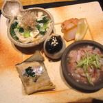 14242455 - 【前菜】しんとり菜と湯葉のお浸し・平貝のスモーク・白身魚と長芋の酒盗和え・鮎の有馬酢煮・牡蠣の西京漬け