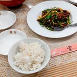 梅蘭 - 『牛肉とピーマン細切り炒め』 1342円(税込)『白飯』 220円(税込)
