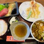 大えび天専門店 さんき - よくばり定食  天ぷらとお刺身 うどん