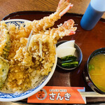 大えび天専門店 さんき - サンキ丼  海老天2本 キス天2枚 野菜天