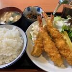 天ぷら 豊野 - 特大海老フライ定食
