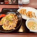 餃子の王将 - Aセット 牛焼肉天津飯と餃子にスープ