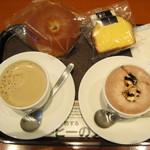 上島珈琲店 - 黒糖ミルク珈琲S、ココアSと、豆乳チーズケーキ、あんぱん