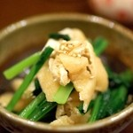 金魚屋 - 小松菜とあげの煮びたし(350円)