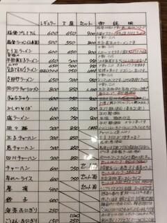 ぎょらん亭 - メニュー(一覧表?
