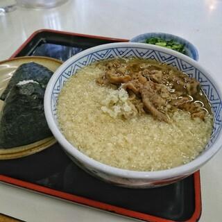 どんどん - 料理写真:モーニング肉 むすび2個[¥460] /  天カス[¥40]
