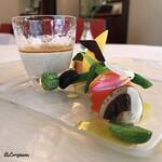 Chez mura bleu Lis - Crème de champignons aux petit legumes et saumon