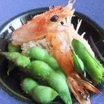 アル・ケッチァーノ - 半生車海老とただちゃ豆のリゾット。えびは完全に加熱したほうが好き