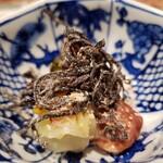 芦屋天がゆ - 漬物3種盛り(塩昆布、白菜漬け、梅干し)