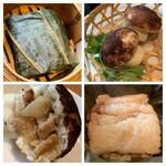 ロ岩ロ岩好・アムアムホウ - ・ポルチーニ茸と鶏肉のキノコ型饅頭 ・鶏肉と塩卵の蓮の葉ちまき