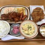 ななほし食堂 - 料理写真:チキンケチャップ定食(ゆしスープ)、トッピング とんかつ