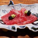 肉割烹 上 - ☆リブロースの醤油漬け海苔の佃煮&本山葵(^o^)丿☆