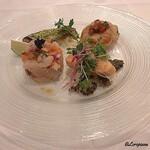 ボン・クラージュ - メバチ鮪、鯛、魴鮄のタルタル、秋鮭のポワレ、帆立貝柱と秋刀魚のコンフィ