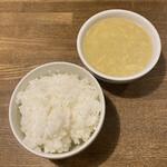 中華バルSAISAI。 - ごはん、たまごコーンスープ。おかわり出来ます!       今日のご飯の盛りは多かったw美味かった(^^)