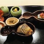 142844571 - 牡蠣 ムカゴと落花生 鯛の昆布巻き ドンコ椎茸とカマス