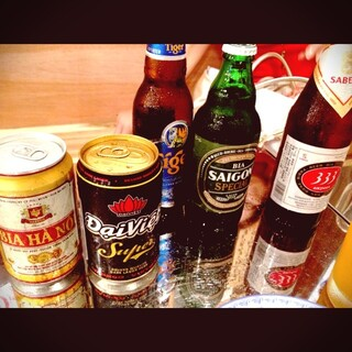ベトナムのビールに焼酎にワイン♪こだわりのドリンクメニュー!