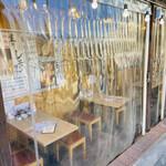 肉汁餃子と190円レモンサワー 難波のしんちゃん - テラス席にはビニールシート