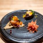 兎屋 - 金時人参とリンゴのキャロットラペ サーモンと鰤のタルタル、揚げた餃子の皮 蛸の柔らか煮